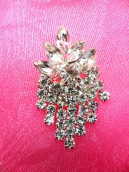 ACT/XR182 Crystal Rhinestone Applique Glass Glorious Dangles Silver Embellishment  1.5""