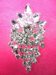 ACT/XR185 Crystal Rhinestone Applique Glorious Dangles Silver Embellishment  1.5""