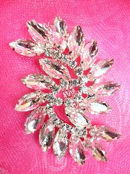 ACT/XR196 Marquise Swirl Crystal Rhinestone Glass Applique Embellishment 2.75""