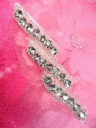 ACT/XR220A Rhinestone Applique Silver Beaded Crystal 4""