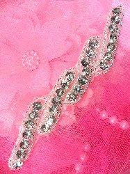 """ACT/XR220B Rhinestone Applique Silver Beaded Crystal 5.25"""""""