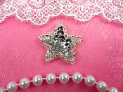Star Applique 1 Inch Silver Sequin Beaded Patch Iron On Petite (ACT/XR359-sl)