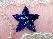 Star Applique 2 Inch Blue Sequin Beaded Patch Iron On (ACT/XR360-bl)