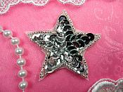 Star Applique 2 Inch Silver Sequin Beaded Patch Iron On (ACT/XR360-sl)
