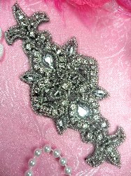 RMACT/XR75/A  REDUCED Black Backing Silver Beaded Crystal Rhinestone Applique 5.75""