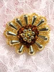 """ACT/0183/H Bronze Gold Sequin Beaded Appliques 1.75"""""""