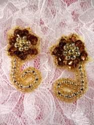 "ACT/0183X/G Bronze Gold Mirror Pair Sequin Beaded Appliques 2"""