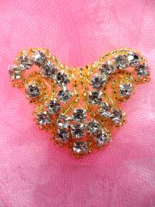 ACT/0477B Gold Backing Crystal Rhinestone Beaded Applique 2""