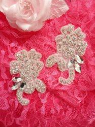 "ACT/DH25/B Applique Mirror Pair Crystal Rhinestone Silver Beaded Bridal Patch Motifs 3.5"""