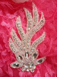 ACT/DH29/B Applique Crystal Rhinestone Silver Beaded Bridal Sash Patch Motif 4.25""