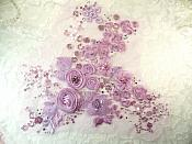 Embroidered 3D Applique Lavender Floral Cluster (ACT/DH77D)