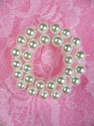 """ACT/FS7345 Pearl White Circle Round Sewing Applique 1.25"""""""