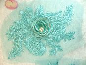 """Teal 3D Embroidered Floral Venise Lace Mirror Pair With Pearl Applique 7"""" (ACT/GB531X)"""