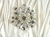 "ACT/GB527 Rhinestone Floral Applique Glass Stone Applique 1.5"" (GB527)"