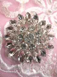 ACT/JB176/A Floral Crystal Rhinestone Applique Silver Setting Floral 2""