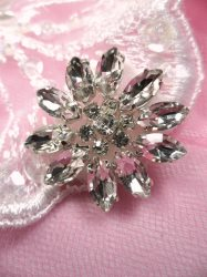 ACT/JB176/C Floral Crystal Rhinestone Applique Silver Setting Floral 1-1/8""