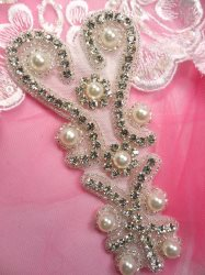 ACT/JB181/A Silver Beaded Crystal Rhinestone Pearl Applique