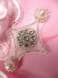 ACT/JB181/B Silver Beaded Crystal Rhinestone Pearl Applique
