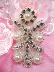 ACT/JB181/D Silver Beaded Crystal Rhinestone Pearl Applique