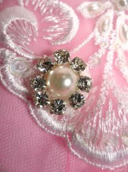 ACT/JB181/E Silver Beaded Crystal Rhinestone Pearl Applique