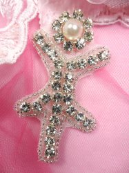 ACT/JB181/G Silver Beaded Crystal Rhinestone Pearl Applique
