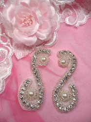 ACT/JB181X/C Silver Beaded Mirror Pair Crystal Rhinestone Pearl Appliques