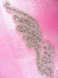 "ACT/JB39/B Savannah Silver Beaded Crystal Rhinestone Applique 6"""