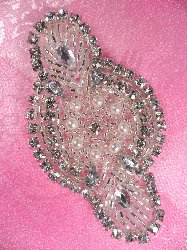 ACT/JB41/A  Natalie Silver Pearl Beaded Crystal Rhinestone Applique 3-1/8""