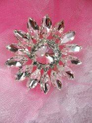 """ACT/N75/B Rhinestone Applique Crystal w/ Silver Setting Embellishment Metal Back 1.75"""""""