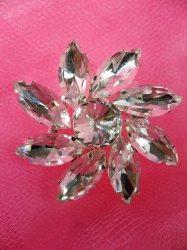 "ACT/N75/C Rhinestone Applique Crystal w/ Silver Setting Embellishment Metal Back 1.25"""