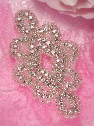 ACT/TS67  Sommer Silver Beaded Crystal Rhinestone Applique 4""