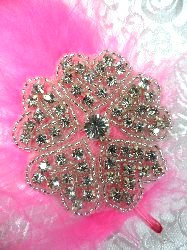 ACT/TS69/B Mary Floral Heart Silver Beaded Crystal Rhinestone Applique 2.25""