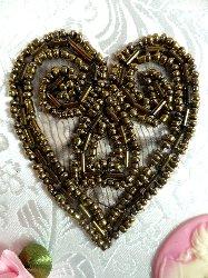 """ACT/XR103/A  Bronze Heart Beaded Applique 2.5"""""""