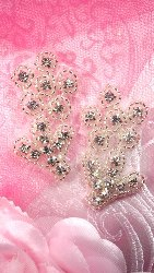 "ACT/XR50/B ""Besties"" Matching Best Friend Crystal Rhinestone Appliques Silver Beaded Flower Mirror Pair 2"""