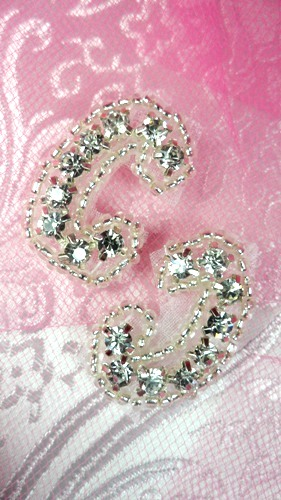 ACT/XR50X/C Crystal Rhinestone Applique Silver Beaded Mirror Pair 1""