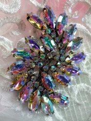 "ACT/XR120 Aurora Borealis Black Backing Marquise Swirl Crystal AB Rhinestone Applique Embellishment 2.75"""