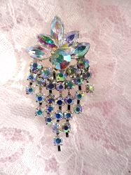 ACT/XR185 Aurora Borealis Rhinestone Applique Glorious Dangles Silver Embellishment 1.5""