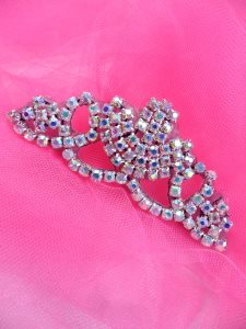 "ACT/XR243/A  Black Backing Crystal Aurora Borealis Rhinestone Elegant Tiara Applique 3.75"""