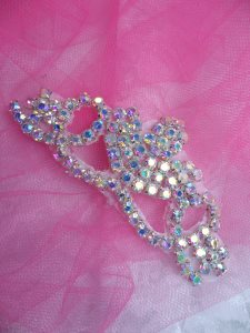 "ACT/XR243/A Rhinestone Applique Crystal Aurora Borealis Elegant Tiara 3.75"""