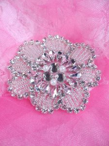 ACT/XR292/A Crystal Rhinestone Applique Silver Beaded w/ Pearls Floral Patch Motif
