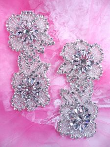 ACT/XR292X/C Crystal Rhinestone Applique Mirror Pair Silver Beaded Double Floral Bridal Motif