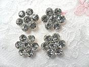 "(Set of 4) Flower Crystal Rhinestone Silver Setting Appliques 7/8"" (ACT/XR372)"