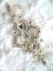 "REDUCED Crystal AB Aurora Borealis Rhinestone Silver Beaded  Applique 5.75"" (RMACT/XR75/A)"