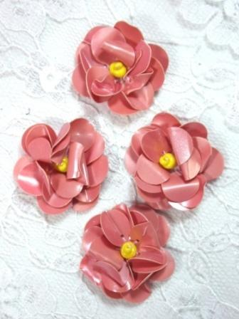 """AE1590  Set of ( 4 ) Old Pink Floral Beaded Sequin Appliques 1"""""""