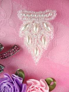 """AFS3639 Crystal Iris Pearl Beaded Cluster Applique 1.75"""""""