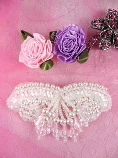 """AFS3914 White Pearl Satin Beaded Victorian Applique 3"""""""