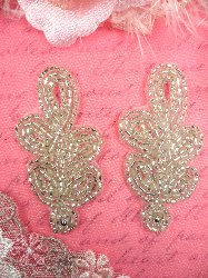 """AFS573 Silver MIRROR PAIR Beaded Appliques 2-7/8"""""""