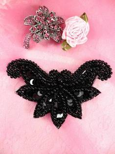 """AFSV183 Arms of Love Black Beaded Sequin Applique 2.5"""""""