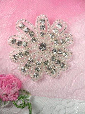 "JB57  Floral Glass Silver Beaded Crystal Rhinestone Applique 2"" Hot Fix Iron on"