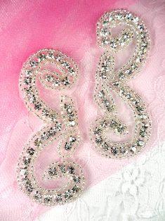 "AJB8C Crystal Clear Silver Beaded Mirror Pair Rhinestone Appliques 3"""